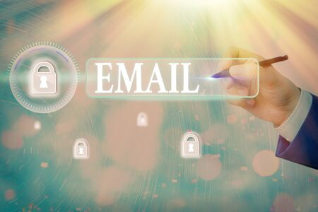 Writing note showing Email. Business concept for Sending a commercial message to a group of showing using mail