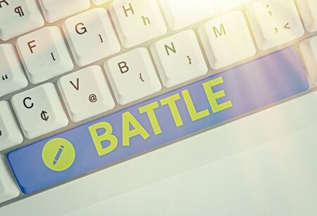 Word writing text Battle. Business photo showcasing violent fight between groups of showing or between military forces