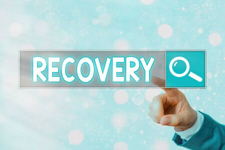 Writing note showing Recovery. Business concept for the return to normal state of health mind or strength soon Stok Fotoğraf