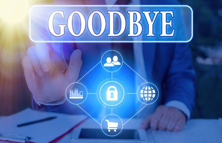 Text sign showing Goodbye. Business photo showcasing used to express good wishes when parting or end of a conversation