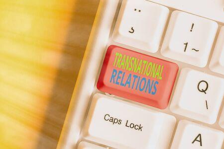 Word writing text Transnational Relations. Business photo showcasing International Global Politics Relationship Diplomacy Stock Photo