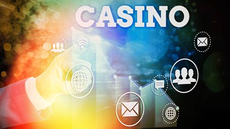 Writing note showing Casino. Business concept for a building where games especially roulette and card games are played