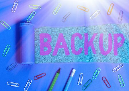 Text sign showing Backup. Business photo showcasing copy of file or other item data made in case original is lost damaged