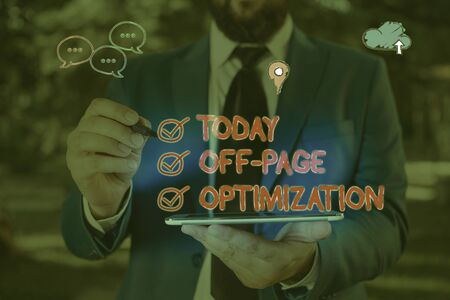 Word writing text Off Page Optimization. Business photo showcasing Website External Process Promotional Method Ranking