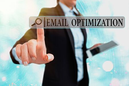 Writing note showing Email Optimization. Business concept for Maximize the effectiveness of the marketing campaign
