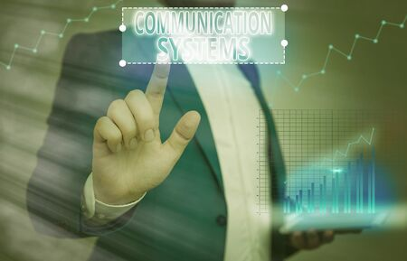 Writing note showing Communication Systems. Business concept for Flow of Information use of Machine to transmit signals