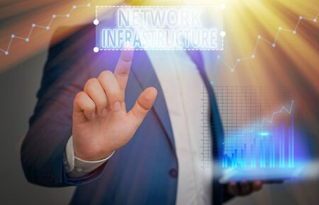 Writing note showing Network Infrastructure. Business concept for Hardware and Software resources In and Out Connection Imagens