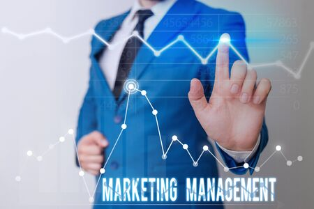 Word writing text Marketing Management. Business photo showcasing Develop Advertise Promote a new Product or Service