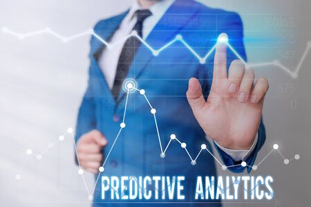 Word writing text Predictive Analytics. Business photo showcasing Optimize Collection Achieve CRM Identify Customer Foto de archivo