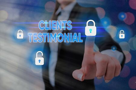 Writing note showing Clients Testimonial. Business concept for Formal Statement Testifying Candid Endorsement by Others