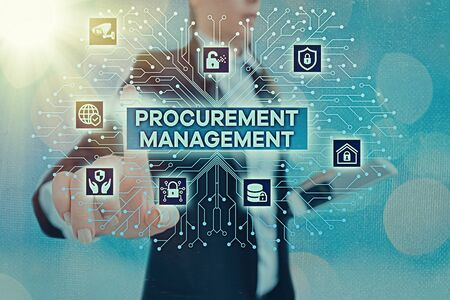 Writing note showing Procurement Management. Business concept for buying Goods and Services from External Sources