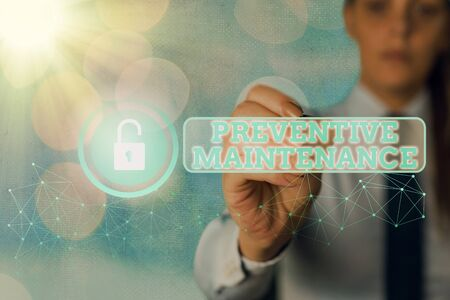Word writing text Preventive Maintenance. Business photo showcasing Avoid Breakdown done while machine still working