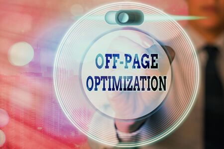 Conceptual hand writing showing Off Page Optimization. Concept meaning Website External Process Promotional Method Ranking
