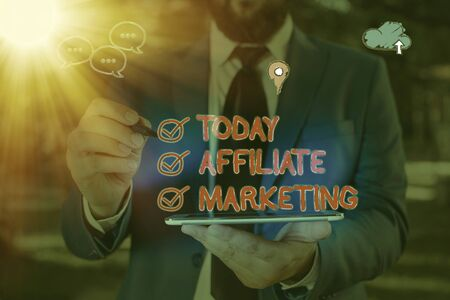Word writing text Affiliate Marketing. Business photo showcasing Promoting another an individuals product Earning a Commission