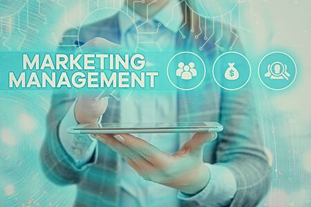 Text sign showing Marketing Management. Business photo text Develop Advertise Promote a new Product or Service