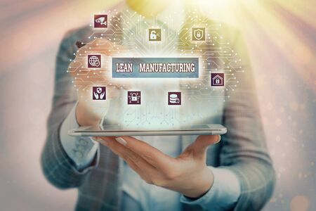 Text sign showing Lean Manufacturing. Business photo text Waste Minimization without sacrificing productivity