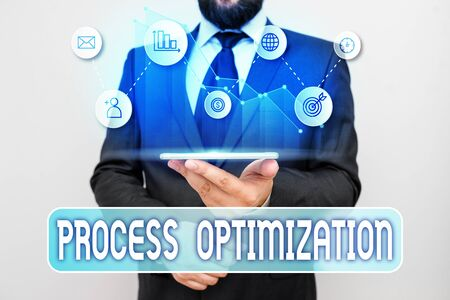 Writing note showing Process Optimization. Business concept for Improve Organizations Efficiency Maximize Throughput