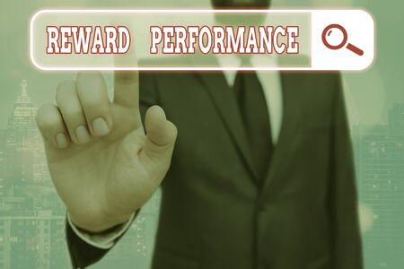 Writing note showing Reward Performance. Business concept for Appraisal Recognize workers Relative Worth to the company Фото со стока