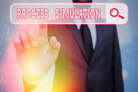 Writing note showing Process Simulation. Business concept for Technical Representation Fabricated Study of a system