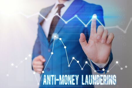 Word writing text Anti Money Laundering. Business photo showcasing stop generating income through illegal actions