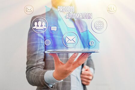 Writing note showing Process Automation. Business concept for Transformation Streamlined Robotic To avoid Redundancy Stock Photo