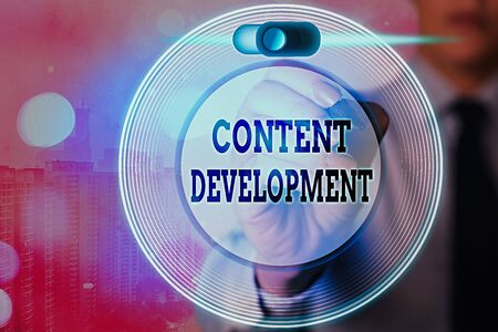 Conceptual hand writing showing Content Development. Concept meaning Specialized in Graphic Design Multimedia Documentation