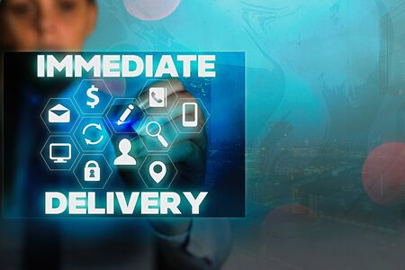 Writing note showing Immediate Delivery. Business concept for Send it Now Custom Procedure to dispose Promptly Stock fotó