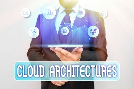 Writing note showing Cloud Architectures. Business concept for Various Engineered Databases Softwares Applications
