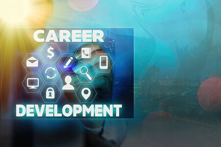 Writing note showing Career Development. Business concept for Lifelong learning Improving skills to get a better job