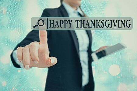 Writing note showing Happy Thanksgiving. Business concept for Harvest Festival National holiday celebrated in November Stock Photo