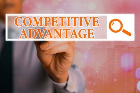 Word writing text Competitive Advantage. Business photo showcasing Company Edge over another Favorable Business Position