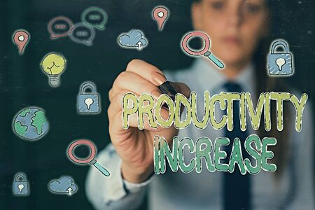 Handwriting text Productivity Increase. Conceptual photo get more things done Output per unit of Product Input Standard-Bild