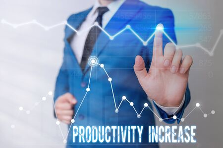 Word writing text Productivity Increase. Business photo showcasing get more things done Output per unit of Product Input