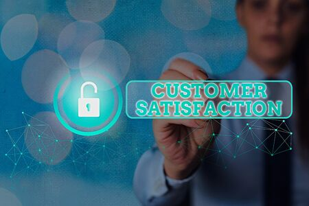 Word writing text Customer Satisfaction. Business photo showcasing Exceed Consumer Expectation Satisfied over services
