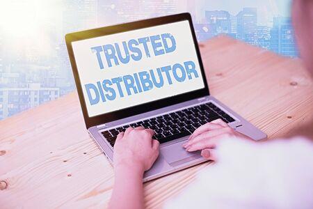 Handwriting text writing Trusted Distributor. Conceptual photo Authorized Supplier Credible Wholesale Representative Фото со стока