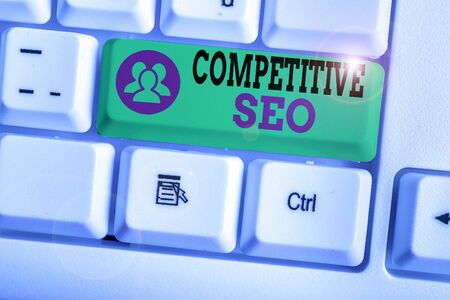 Word writing text Competitive Seo. Business photo showcasing the process of evaluating how the top rankings fare