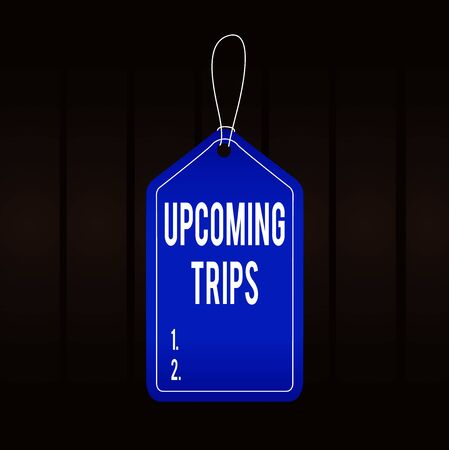 Writing note showing Upcoming Events. Business concept for a planned public or social occasion happening soon Empty tag colorful background label rectangle attach string