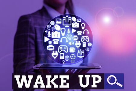 Writing note showing Wake Up. Business concept for an instance of a demonstrating waking up or being woken up Rise up