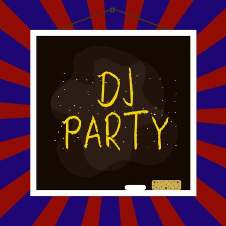Handwriting text writing Dj Party. Conceptual photo demonstrating who introduces and plays recorded popular music on radio Asymmetrical uneven shaped format pattern object outline multicolour design