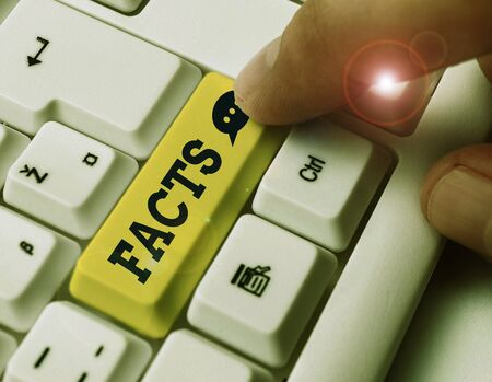 Text sign showing Facts. Business photo text information used as evidence or part of report news article blog