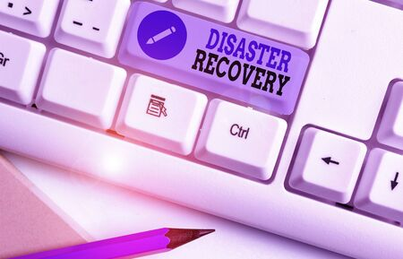 Word writing text Disaster Recovery. Business photo showcasing helping showing affected by a serious damaging event