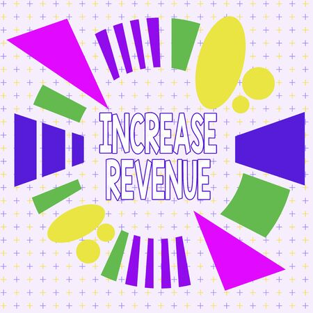 Text sign showing Increase Revenue. Business photo showcasing increase in a company s is sales from one period to the next Asymmetrical uneven shaped format pattern object outline multicolour design Фото со стока