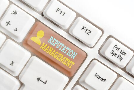 Text sign showing Reputation Management. Business photo showcasing Influence and Control the Image Brand Restoration