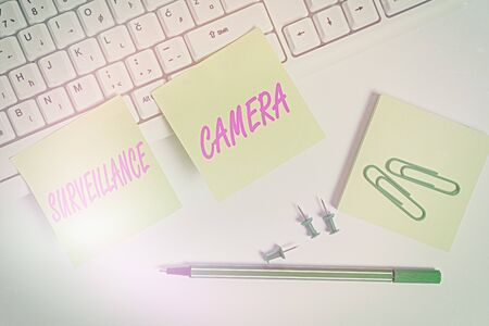 Conceptual hand writing showing Surveillance Camera. Concept meaning Closed Circuit Television transmit signal on monitors Empty note paper and paper clips with pencil on white background Stock fotó