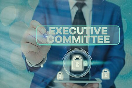 Handwriting text writing Executive Committee. Conceptual photo Group of Directors appointed Has Authority in Decisions 스톡 콘텐츠 - 145560387