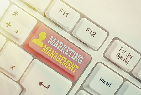 Text sign showing Marketing Management. Business photo showcasing Develop Advertise Promote a new Product or Service