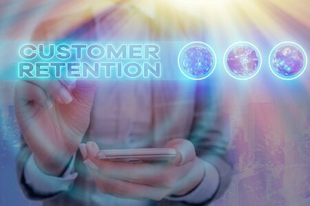 Word writing text Customer Retention. Business photo showcasing Keeping loyal customers Retain many as possible