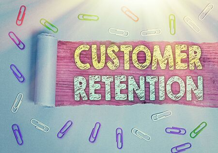 Text sign showing Customer Retention. Business photo showcasing Keeping loyal customers Retain many as possible