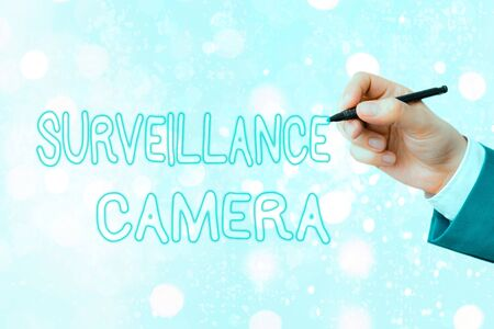 Conceptual hand writing showing Surveillance Camera. Concept meaning Closed Circuit Television transmit signal on monitors Stock fotó