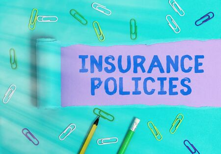 Handwriting text Insurance Policies. Conceptual photo Documented Standard Form Contract Financial Reimbursement